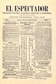 Portada del primer número de El Espectador, 22 de marzo de 1887