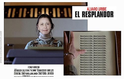 Parodia del cartel de 'El resplandor', con Lina Moreno de Uribe como la secretaria que escribe sin cesar la palabra 'Reelección'