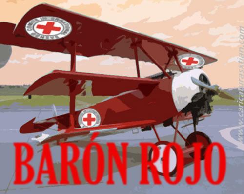 Aparece un avión como los de la primera mitad del siglo XX con el logo de la Cruz Roja en varias partes y al frente la leyenda: 'Barón rojo'