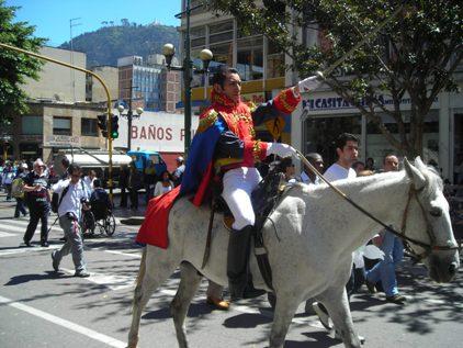 Bolívar en su caballo blanco