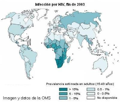 Mapa de infección por VIH por países, datos de finales de 2003